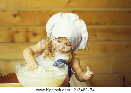 Happy Boy Child Cook Kneading Dough