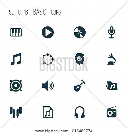 Music icons set with earphone, tuner, earmuff and other octave elements. Isolated vector illustration music icons.