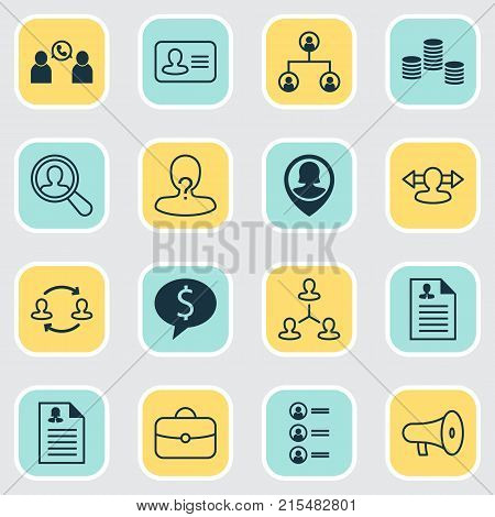 Hr icons set with job applicants, female pin, reverse and other deal elements. Isolated vector illustration hr icons.