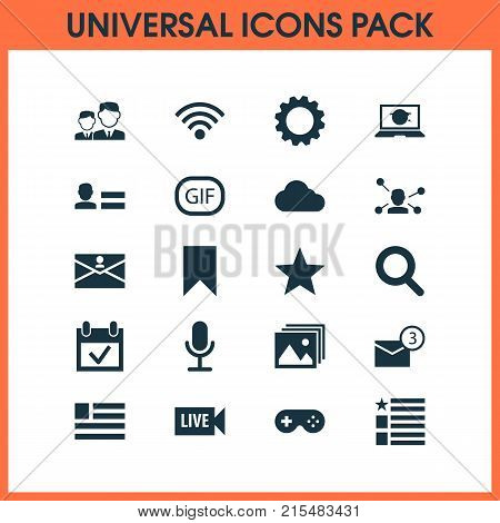 Media icons set with questionnaire, gif sticker, inbox and other inbox elements. Isolated vector illustration media icons.