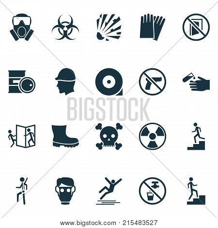 Safety icons set with chemical storage, no weapon, latex and other staircase elements. Isolated vector illustration safety icons.