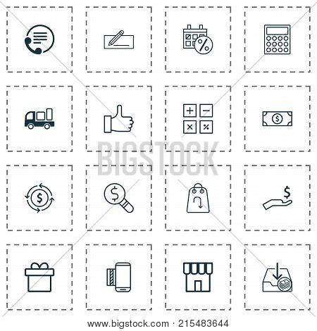 Ecommerce icons set with finance, money transfer, rich and other recommended elements. Isolated vector illustration ecommerce icons.