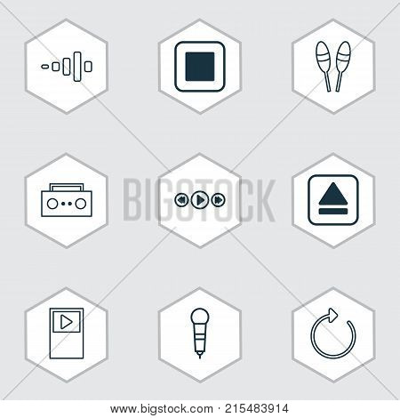 Multimedia icons set with beat instrument, player, stop button and other beat instrument elements. Isolated vector illustration multimedia icons.