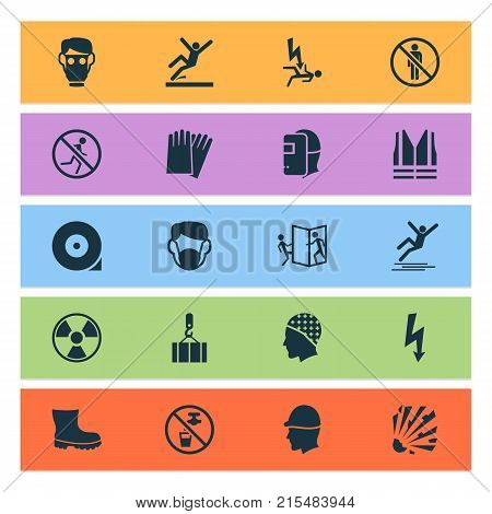 Sign icons set with radiation, repair, surface and other headwear elements. Isolated vector illustration sign icons.