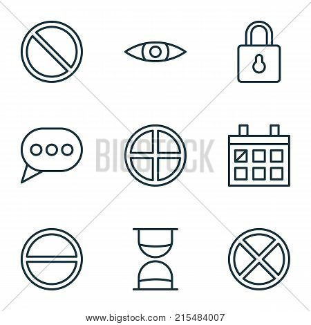 Network icons set with obstacle, positive, hourglass and other message bubble elements. Isolated vector illustration network icons.