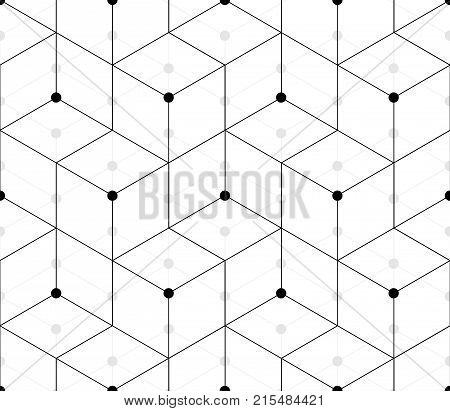 Modern layered black and white seamless pattern in the form of mixed blocks ladder with circles at the intersections