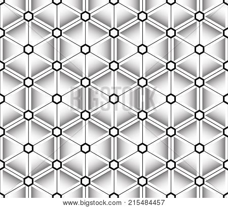 Gradient seamless pattern, black contours, triangles and diamond shapes with black and white hexagons at the intersections of the lines