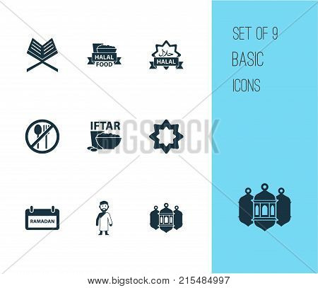 Ramadan icons set with hajj, forbidden meal, holy book and other bowl elements. Isolated vector illustration ramadan icons.