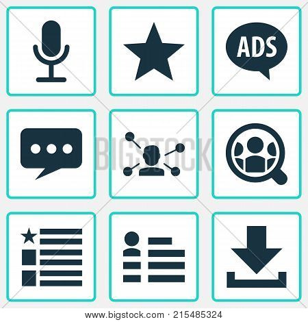 Media icons set with relation, questionnaire, message and other search elements. Isolated vector illustration media icons.