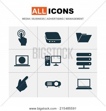 Digital icons set with personal computer, laptop, database and other personal computer elements. Isolated vector illustration digital icons.