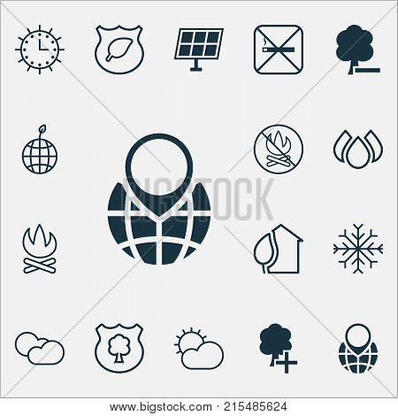 Eco-friendly icons set with cigarette, insert woods, delete woods and other aqua elements. Isolated vector illustration eco-friendly icons.