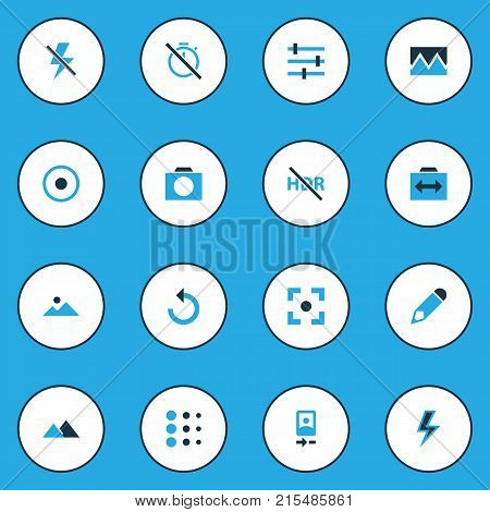 Picture colorful icons set with rotate left, capture, filtration and other filtration elements. Isolated vector illustration picture icons.