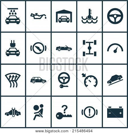 Automobile icons set with convertible model, hatchback, vehicle and other repairing elements. Isolated vector illustration automobile icons.