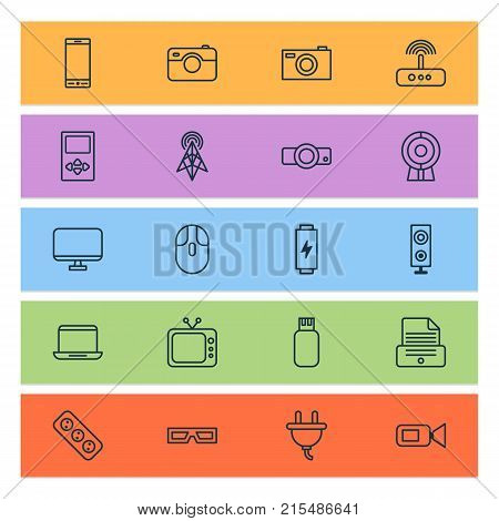 Hardware icons set with switch, monitor, extension cord and other socket elements. Isolated vector illustration hardware icons.