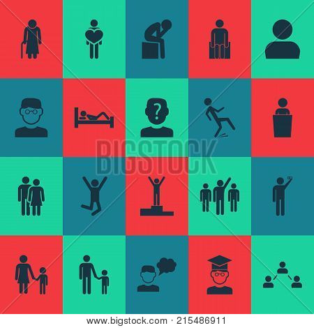 Human icons set with feeling, avatar, champion and other lecturer elements. Isolated vector illustration human icons.
