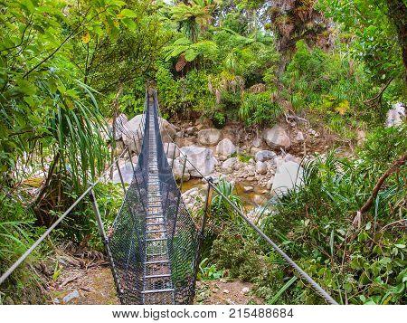 Metal Swingbridge On The Heaphy Track