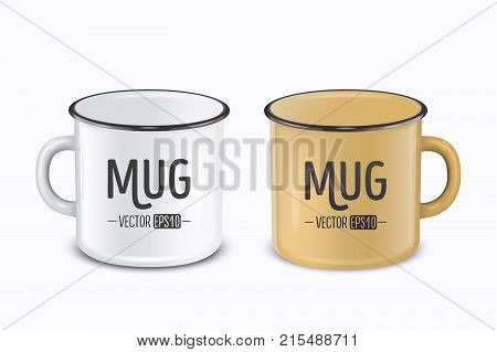 Vector realistic enamel metal white and brown mugs isolated on white background. EPS10 design template for Mock up.