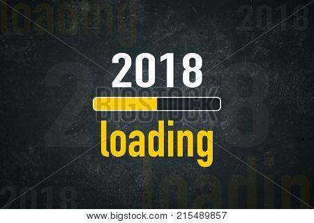 "Loading bar ""2018 loading"" on a dark background"