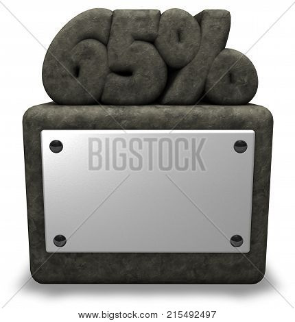 stone number sixty-five and percent symbol on stone socket - 3d rendering