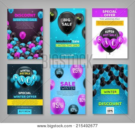 Black Friday set, coupons, vouchers, flyers, posters. Invitation cards, promotional materials, profitable offers for seasonal shopping. Vector illustration of winter sale