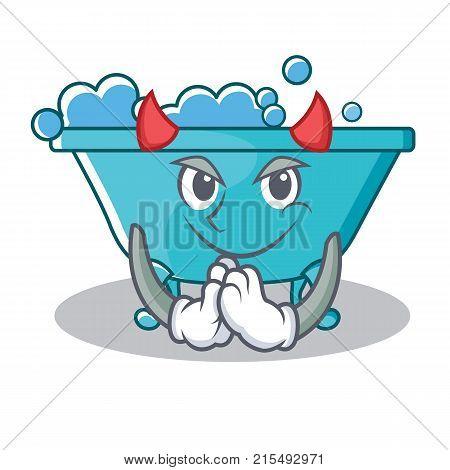 Devil bathtub character cartoon style vector illustration