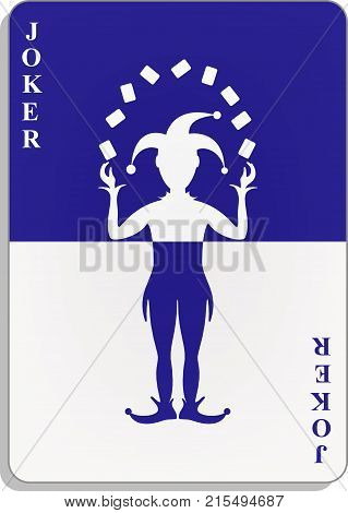 Playing card with Joker in blue and white design with shadow on white background poster