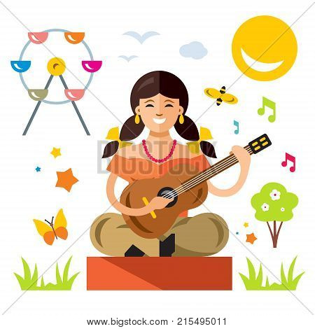 Guitarist in the amusement park. Isolated on a white background