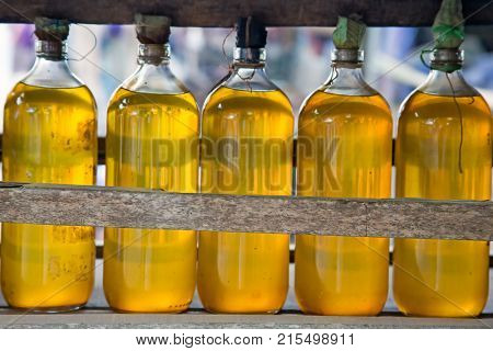 Gasolina in bottles for sale on Java Indonesia