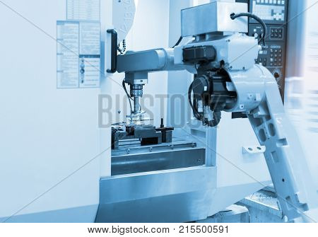 Robotic and Automation system control application on automate robot arm in smart manufacturing background.Industrial 4.0 concept.