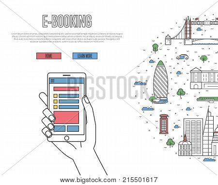 Online tickets ordering poster with british famous architectural landmarks in linear style. E-booking vector with smartphone in hand, mobile payment. European traveling, London historic attractions