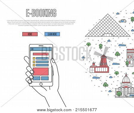 Online tickets ordering poster with french famous architectural landmarks in linear style. E-booking vector with smartphone in hand, mobile payment. Europe traveling, parisian historic attractions