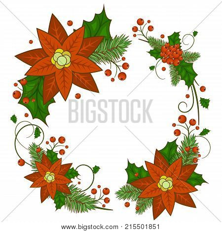 Christmas card with a wreath of berries, Holly, white flowers poinsettia . Invitation or greeting card. Stock vector.