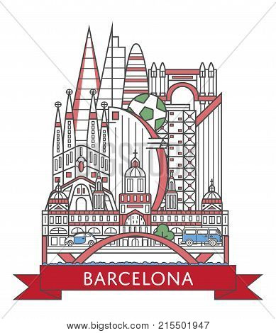 Travel Barcelona poster with national architectural attractions in trendy linear style. Barcelona famous landmarks on white background. Spanish tourism advertising and european voyage vector concept.