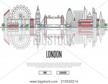 Travel tour to London poster with famous architectural attractions in linear style. Worldwide traveling and time to travel concept. London panorama with landmarks, tourism and journey vector banner