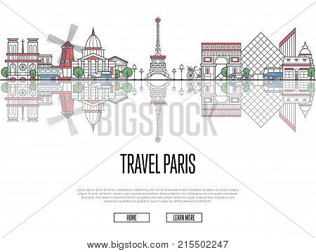 Travel tour to Paris poster with famous architectural attractions in linear style. Worldwide traveling and time to travel concept. Paris panorama with landmarks, tourism and journey vector banner