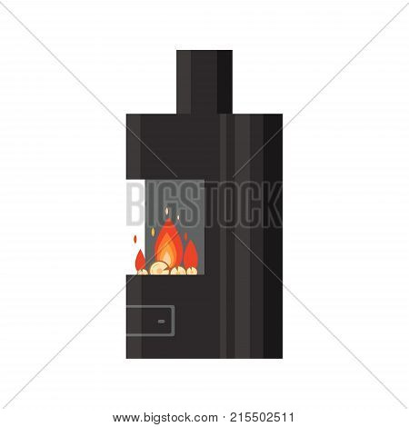 Vector different colorful home fireplace with fire and firewood isolated on white background. Design elements for room interior in flat style, fire warm - stock illustration.
