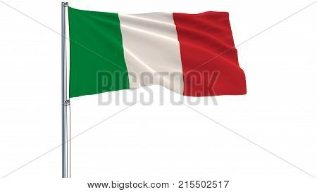 Isolate Flag Of Italy On A Flagpole Fluttering In The Wind On A White Background, 3D Rendering.