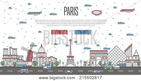 Paris skyline with national famous landmarks in trendy linear style. Worldwide traveling vector concept, touristic tour advertising with parisian historic architectural attractions on white background