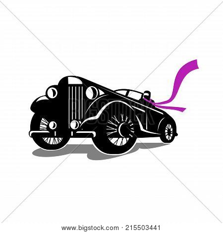 Retro style illustration of a vintage roadster coupe classic automobile with top down and driver with flowing scarf viewed from a low angle on isolated background.