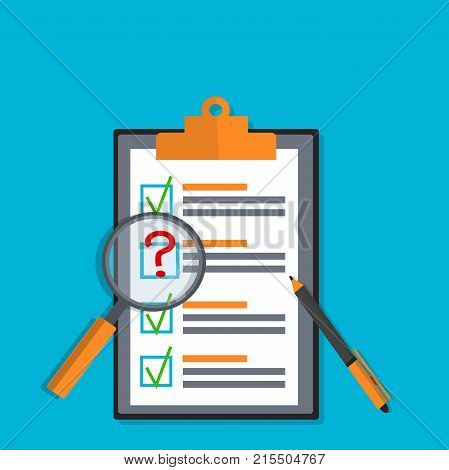 Exam test results paper sheet or checklist, filled quiz document. Vector illustration of quiz or questionnaire with answers and magnifier