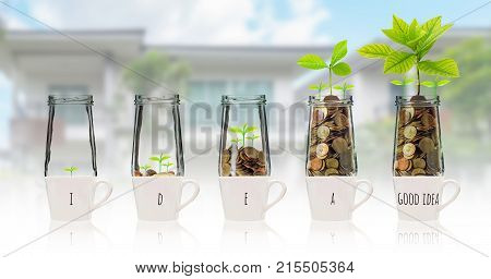 Gold coins and seed in five clear bottle over the glass with text good idea on photo blurred house background Business investment growth concept