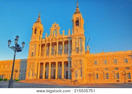 Almudena Cathedral On The Opposite Side Of The Royal Palace In Madrid. Spain.