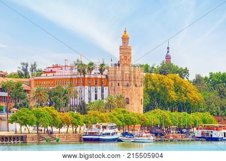 View on downtown of Seville and Guadalquivir River Promenade. Spain. poster