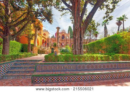 Panoramic View Of Inner Patio - Troy Garden ( Jardin De Troya)  Of The Royal Alcazar In Seville.