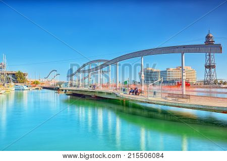 Panorama On Barcelona Seaport And Maremagnum Mobile Bridge (puente Movil Maremagnum). Catalonia. Spa