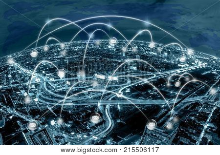 Network connection line between building over the top view of cityscape background and world map background which dicut each elements cool tone colorbusiness social network and connection concept, 3D illustration