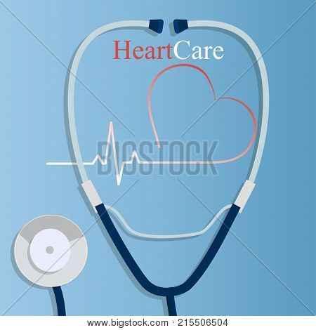 Original trendy vector illustration of realistic Stethoscope . Medical equipment collection. Heart care. Stethoscope with stylized heart rate illustration