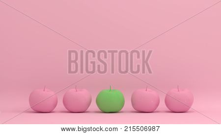 pink apple with green apples conformity and different concept on pastel background for copy space minimal fruit and object concept pastel colorful lovely picture art poster