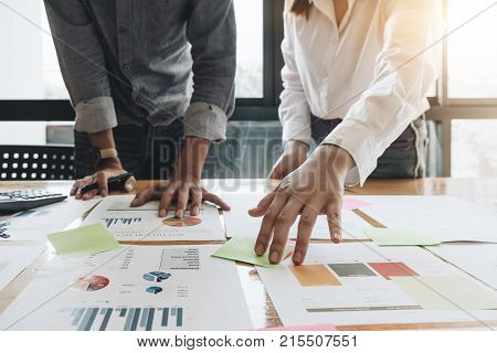 Business People Planning Strategy Analysis From Financial Document Report, Office Concept