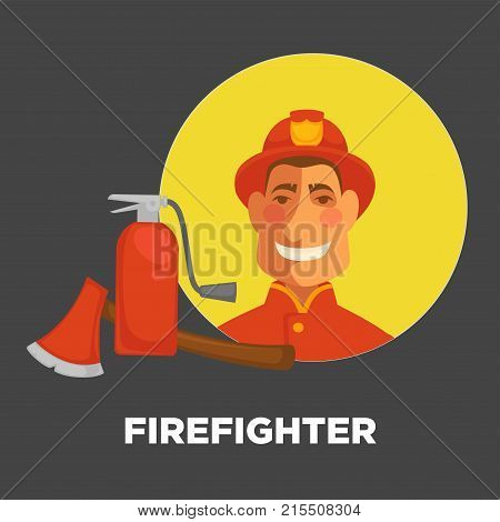 Firefighter in uniform with fire extinguishing equipment of extinguisher and ax. Vector flat isolated icon of professional fireman for firefighting or fire protection design